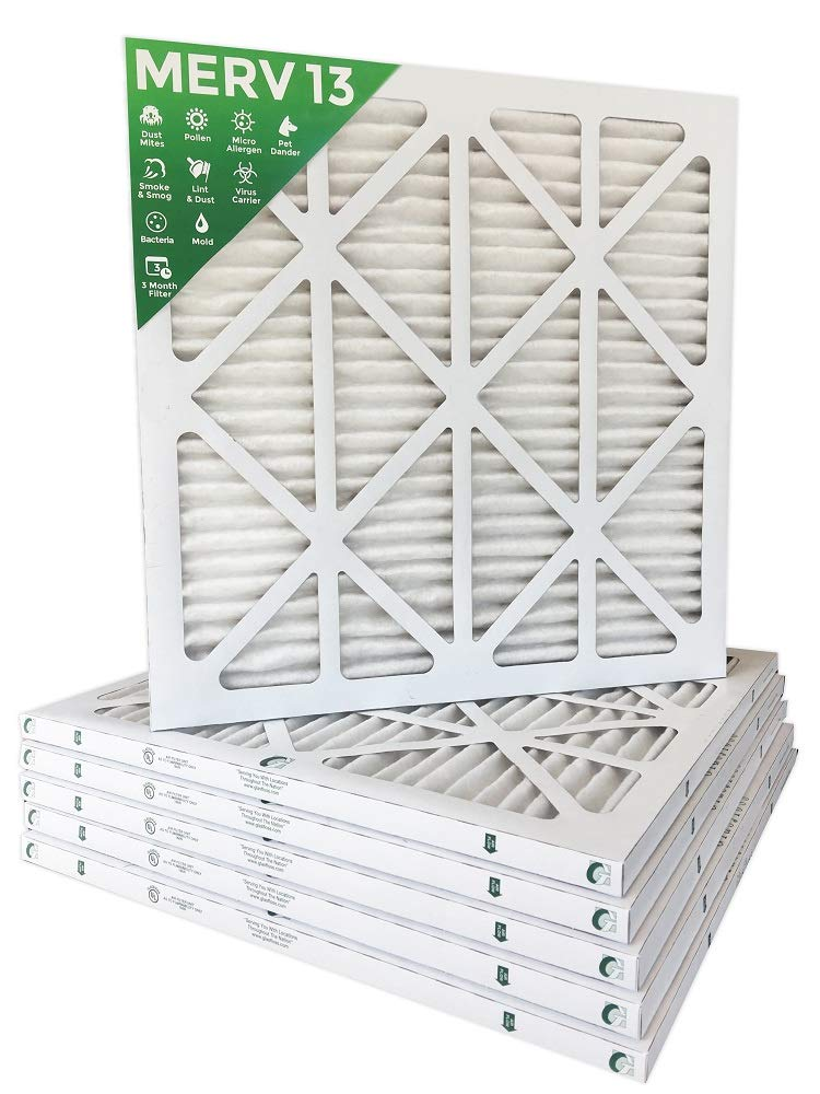 18x18x1 MERV 13 (MPR 2200) Pleated AC Furnace Air Filters. Box of 6 Filters Delivered