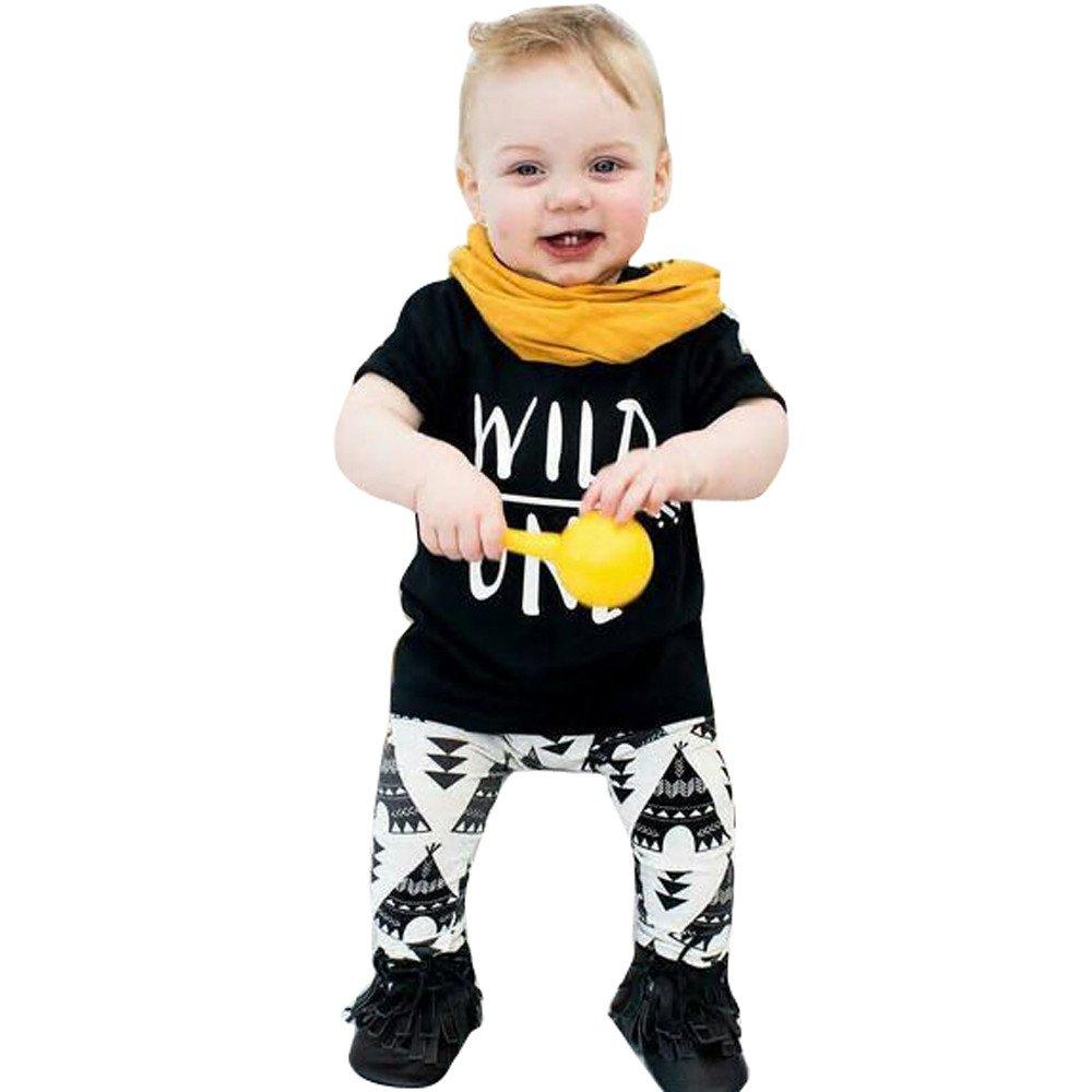 Toddler Infant Baby Girl Boy Clothing Set 2PCS Summer Casual Children Kids Short Sleeved Letter Print T Shirt + Elasticity Geometric Pattern Pants
