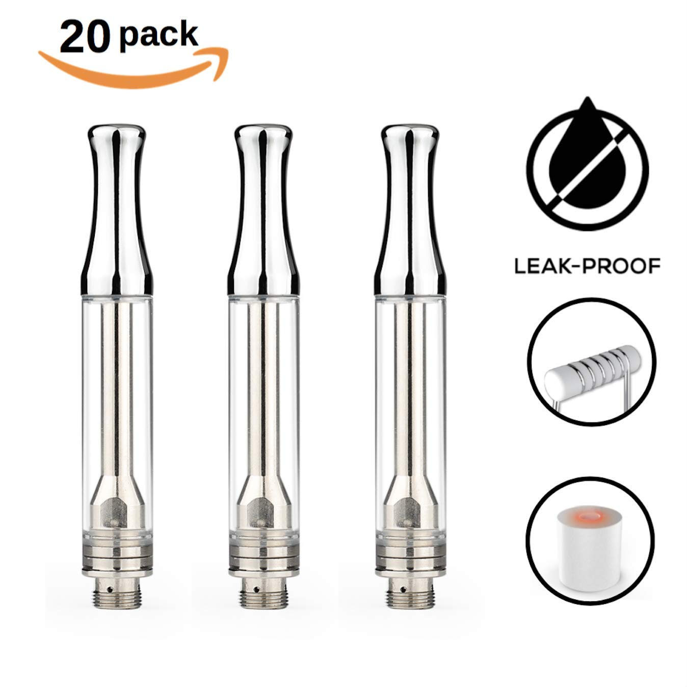 1ml Glass Ceramic Wickless Cartridge AC-1003 1.2mm Air Holes | for Full Hemp Extract, Concentrates, Thin Contents (Silver) (20)