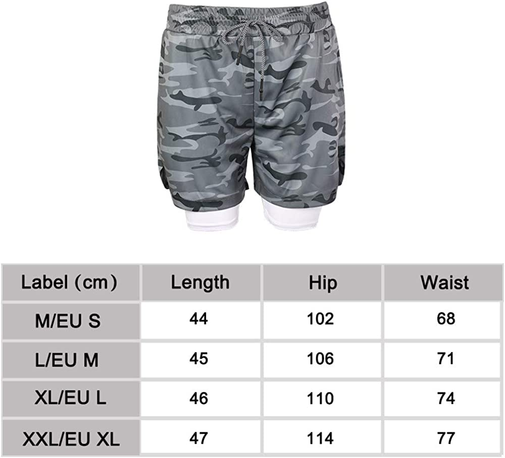 Superora Mens Running Gym 2 in 1 Sports Shorts Breathable Outdoor Workout Training Shorts with Pockets