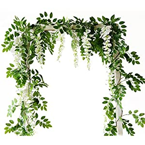 6.6ft Artificial Flowers Silk Wisteria Flowers Ivy Vine Green Leaf Hanging Vine Garland for Wedding Party Home Garden Wall Decoration Pack of 2, Cream 25