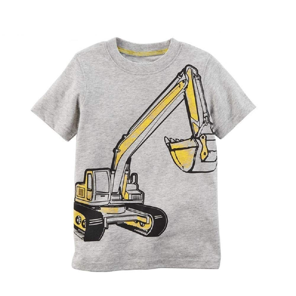 Hooyi Baby Boy Yellow Digger Short Sleeve T-Shirts Children Tee Bebe Top Cotton Blouse