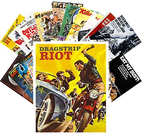 Postcard Set 24 cards Bikers and Racing Car Crash Vintage Trash Movie Posters Ads