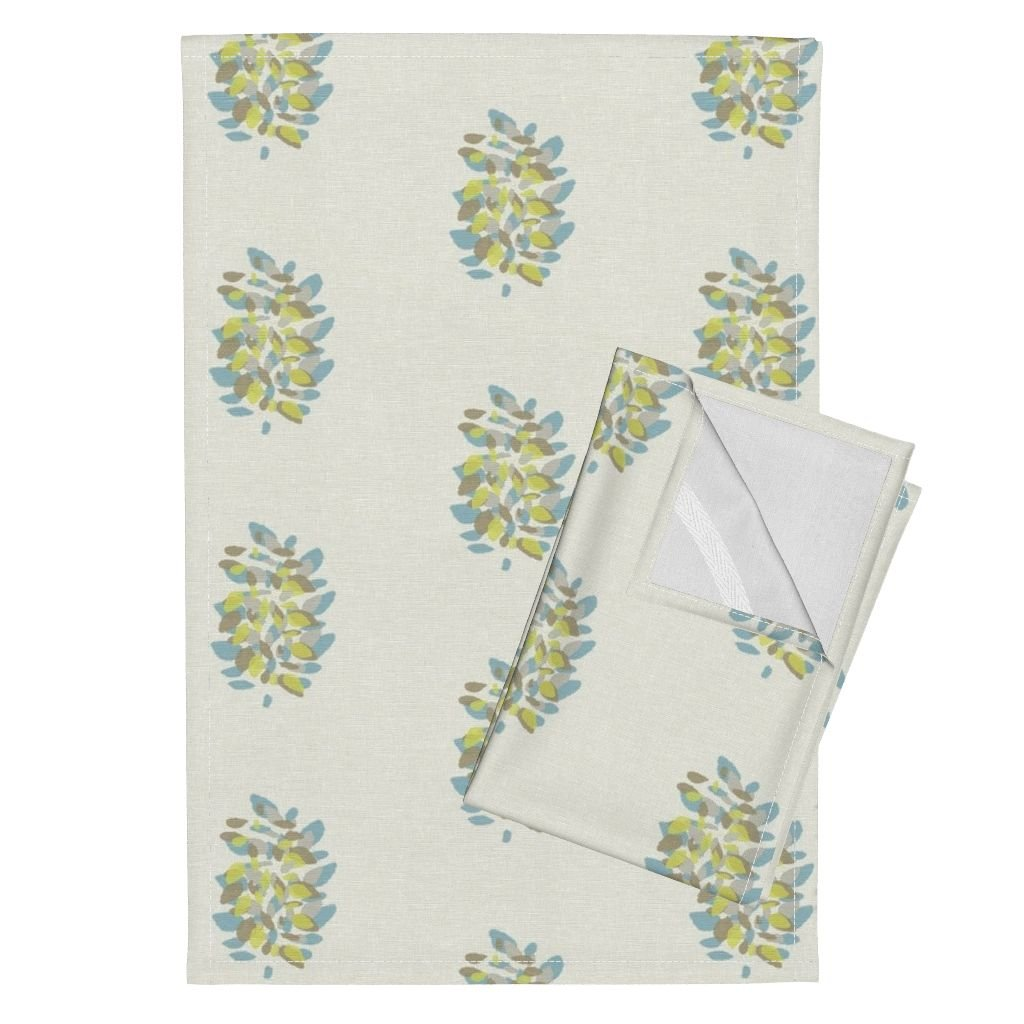 Roostery Citron Blue Aqua Paisley Floral Hand Blocked Tea Towels Lisbon in Spa by Willowlanetextiles Set of 2 Linen Cotton Tea Towels