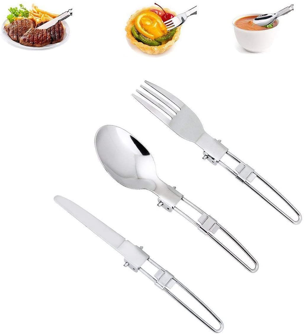 Unigift 3 Pieces Stainless Steel Portable Knife Fork and Spoon Camping Picnic Utensil Travel Cutlery Set