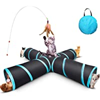 Odibess Cat Tunnel Toy, Upgraded Collapsible 4 Way Pet Play Tunnel Tube Storage Bag & Cat Toys Feather Wand, Large Cats, Dogs, Rabbits, Guinea Pig, Indoor/Outdoor Use
