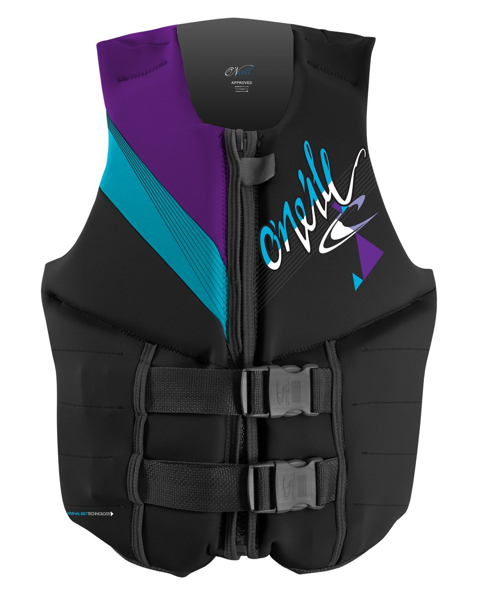 O'Neill Wake Waterski Women's Reactor 3 USCG Vest  (Black/Turquoise/Ultraviolet, 12) by O'Neill Wetsuits