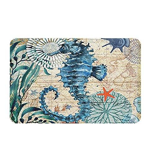 ECONIE Sea Horse Door Mat Ocean Animal Home Bathroom Bath Shower Bedroom Mat Toilet Floor Door Mat 15.7X23.6 in (02)...