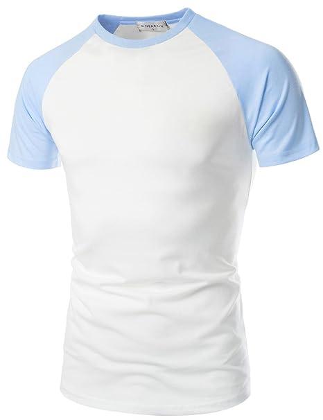 759437d9 NEARKIN (NKNKRST622) Unisex Round Neck Short Sleeve Raglan Fitted T-shirts  WHITESKYBLUE US