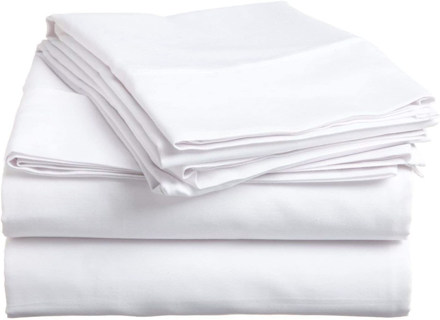 "Ethereal Bedding 600-Thread Count Premium Quality Bed Sheets Italian Finish 100% Egyptian Cotton 4-PCs - Sheet Set, Fits Mattress Upto 17""-20"" Inch Deep Pockets Solid Pattern (Queen, White)"