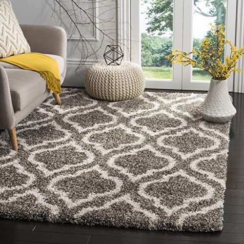 (Safavieh Hudson Shag Collection SGH284B Grey and Ivory Moroccan Geometric Area Rug (8' x 10'))