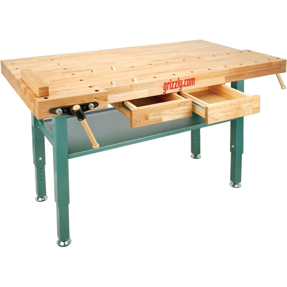Grizzly T10157 Heavy-Duty Oak Workbench with Steel Legs