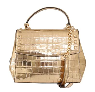 df4ded3c7bc0 Amazon.com: Michael Kors Karla Top Handle Embossed Leather Satchel Crossbody  (Medium, Gold): Shoes