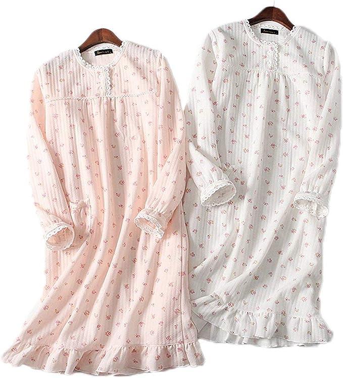 Camisones De Las Mujeres Vestido De Algodón Casuales De Mujeres Floral Manga Larga Cuello Redondo Suelta Moda Cómodo Pijama Camisón Ropa De Dormir: Amazon.es: Ropa y accesorios
