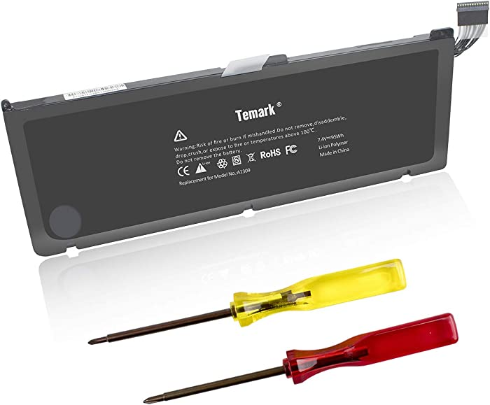 Temark Replacement Laptop Battery A1309 Compatible with MacBook Pro 17inch A1297 (Only fit Early 2009 Mid2009 Mid2010 Version), fits for MC226/A MC226CH/A MC226J/A 020-6313-C 661-5037-A (95Wh)