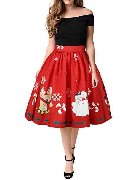 WLLW Women Vintage Christmas Santa Claus Print Swing Pleated Flared Skater Skirt Medium Red