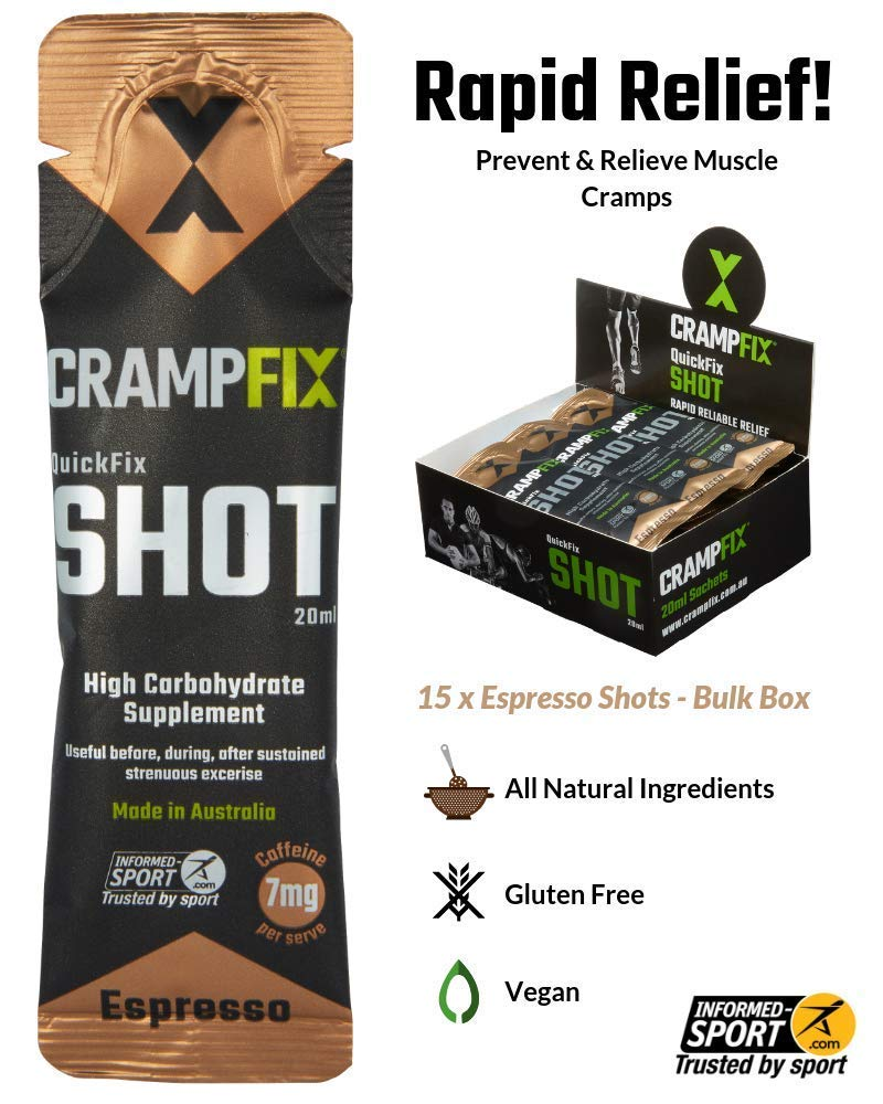 CrampFix Muscle Cramp Rapid Relief, Fast Acting Drink Prevents and Relieves, for Leg, Calf, Any Muscle, 15Pk Small Easy to Carry Sachets, All Natural, Espresso with Caffeine by CRAMPFIX
