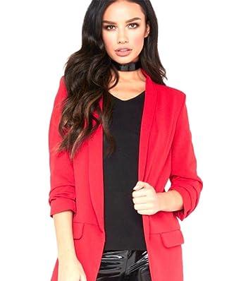 Women Ladies frill ruffle 3//4 sleeve Long-line Stylish duster coat jacket blazer