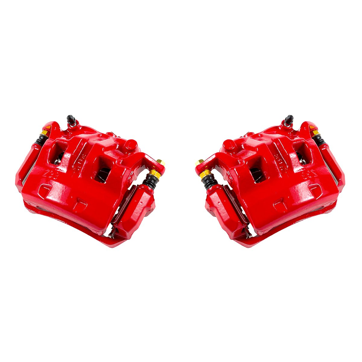CK01191 FRONT Performance Grade Red Powder Coated Semi-Loaded Caliper Assembly Pair Set 2