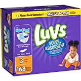 Health & Personal Care : Branded Luvs Super Absorbent Leakguards Diapers, Size 3, 168 Diapers , Weight 16-28lbs - Branded Diapers with fast delivery (Soft and Comfortable for Babies)