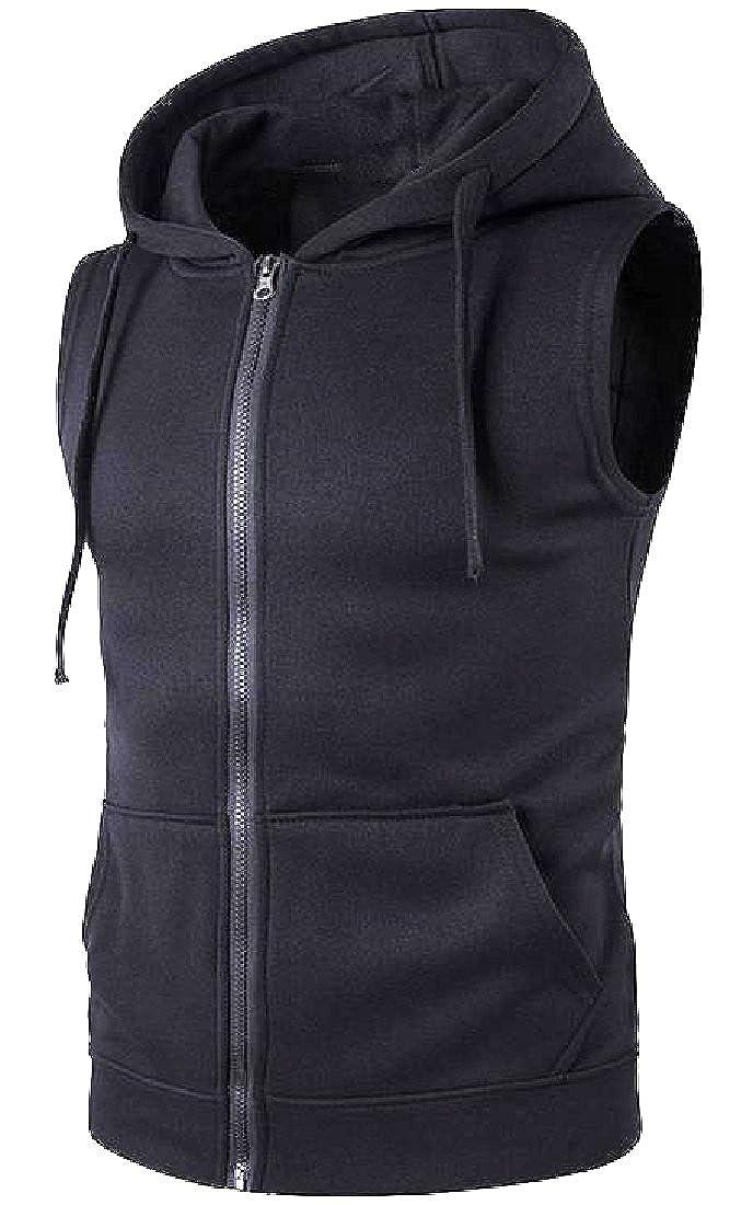 VITryst-Men Original Fit Zip-Front Hooded Fall Winter Jacket Vest