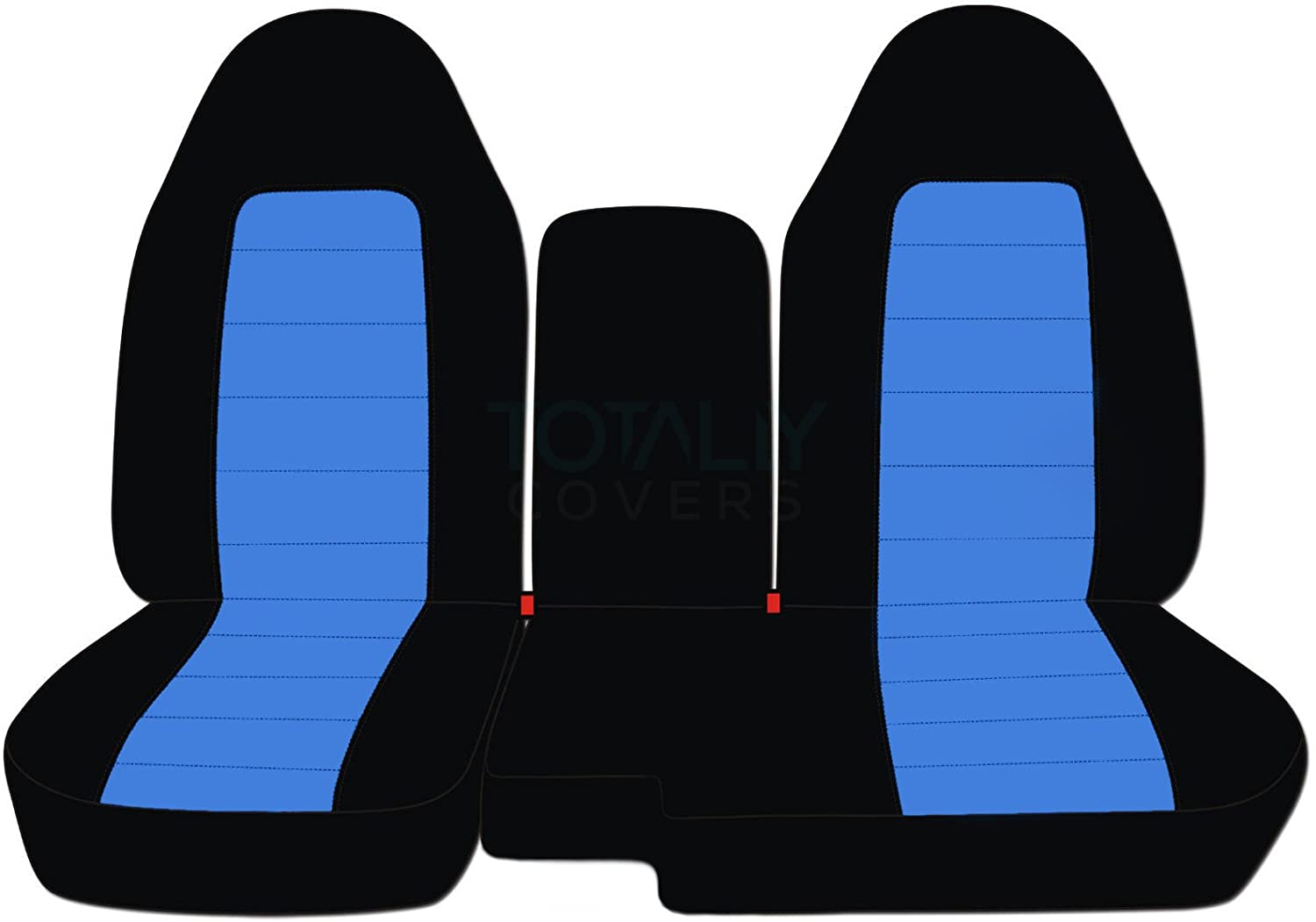 2004-2012 Ford Ranger/Mazda B-Series Two-Tone Truck Seat Covers (60/40 Split Bench) with Center Console/Armrest Cover: Black & Navy Blue (21 Colors) 2005 2006 2007 2008 2009 2010 2011 Designcovers
