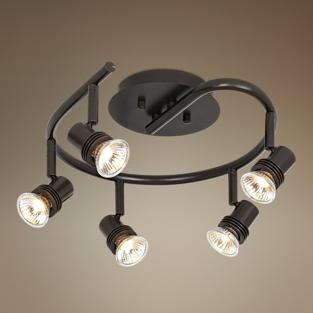 pro track spiral bronze 5 light ceiling fixture close to ceiling