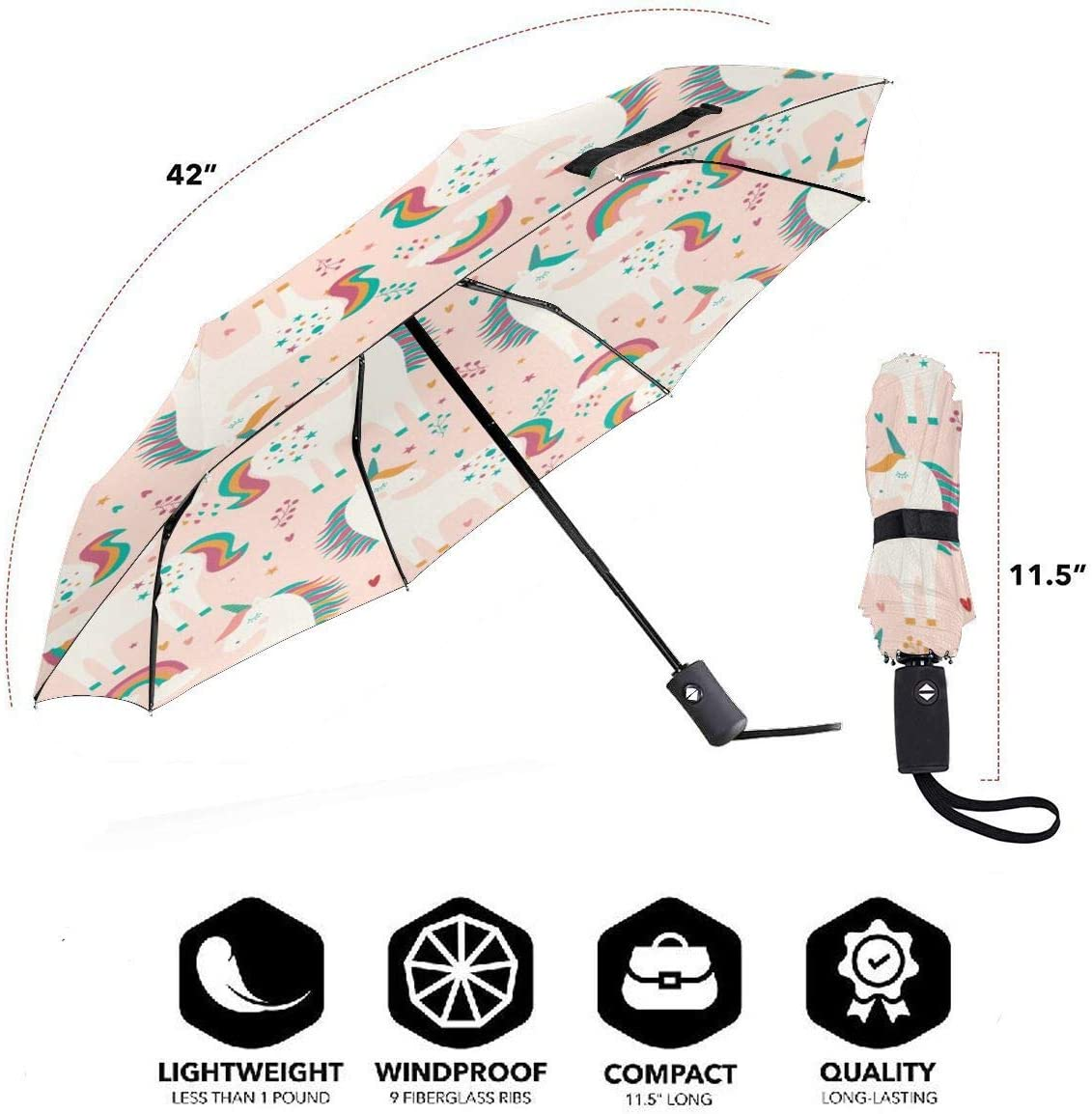 Unicorns Stars Hearts Rainbows Automatic Open Folding Compact Travel Umbrellas For Women
