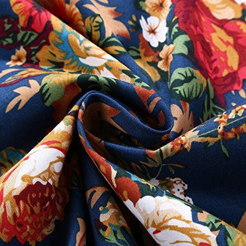 Sleeve Swing Party BI Printed Retro Vintage Dress Style 1950s Blue Women's TENCON Cap Floral x8qZwR0
