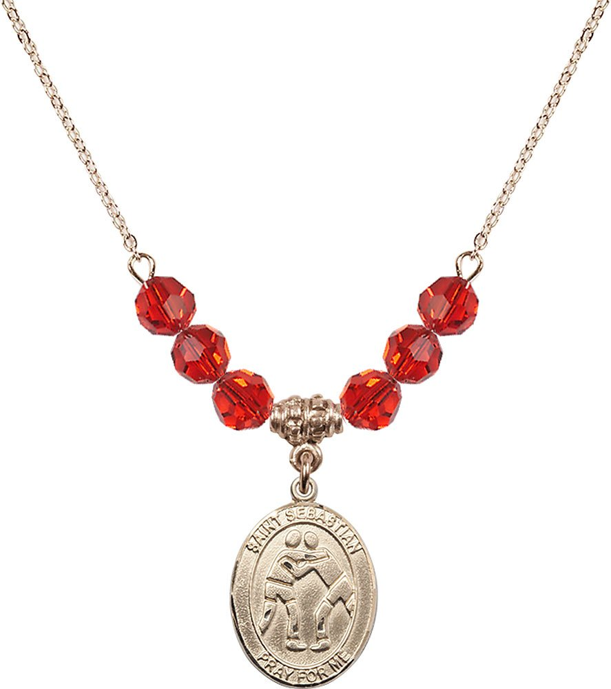 Gold Plated Necklace with 6mm Ruby Birthstone Beads & Saint Sebastian/Wrestling Charm.