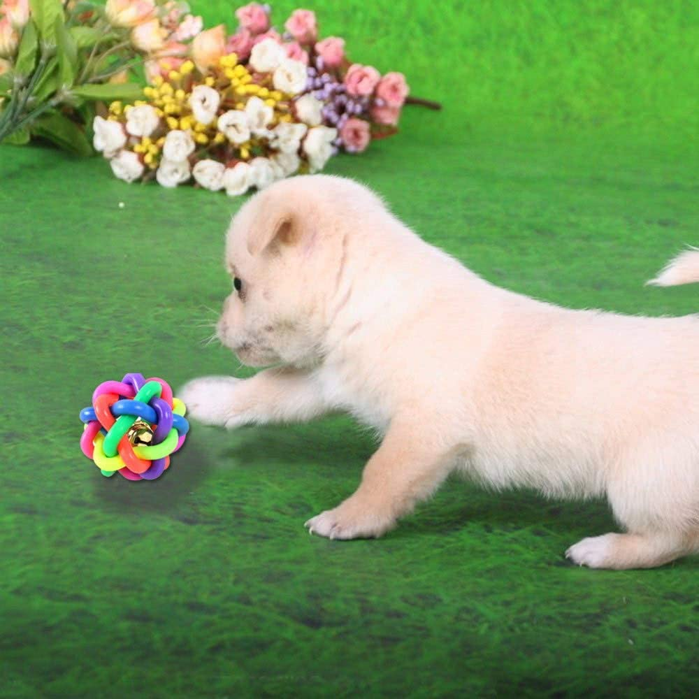 Morebeauty Pet Dog Chew Teeth Toys Colorful Rubber Ring Bell Twist Round Ball Pets Products Amazon Co Uk Pet Supplies