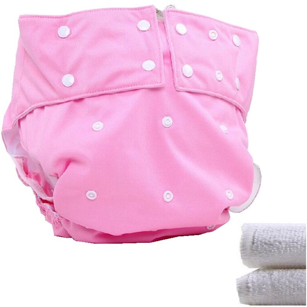 LukLoy - Teen / Adults Cloth Diapers with 2pcs Inserts for Incontinence Care -Dual Opening Pocket Washable Adjustable Reusable Leakfree (Pink) Shenzhen M-Home Co. Ltd W-D1322