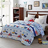 Brandream Blue Kids Bedding Trucks Construction Car Boys Quilt Comforter Bed Blanket Soft Cotton Quilts 1-Piece Summer Quilt Queen Size
