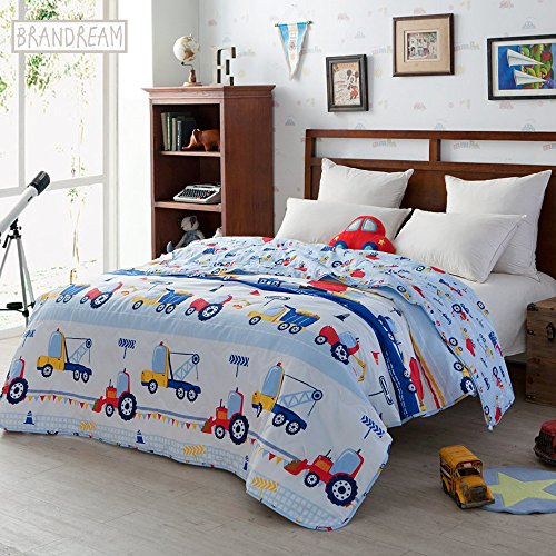Brandream Blue Kids Bedding Trucks Printed Boys Car Quilt Comforter Throw Blanket Super Soft Cotton Quilts 1-Piece Summer Quilts Full Size by Brandream