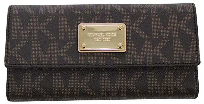 efe01ce45a99 Amazon.com: Michael Kors Vanilla PVC Checkbook Wallet Brown: Michael ...