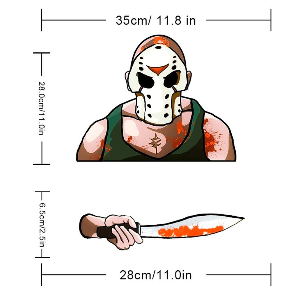 MIYSNEIRN Latest Masked Machete Killer Rear Wiper Decal Sticker Horror Bloody Mask Man Wiper Decal Tag Scary Waving Wiper Decal Tags for Rear Window Windshield Wiper Sctickers Car Rear Wiper Decals