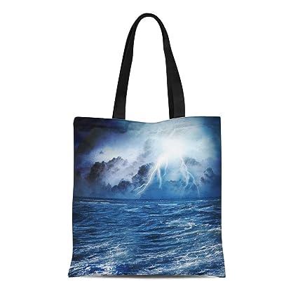 1ce8451141b7 Amazon.com: Semtomn Cotton Canvas Tote Bag Storm of Dark Night ...