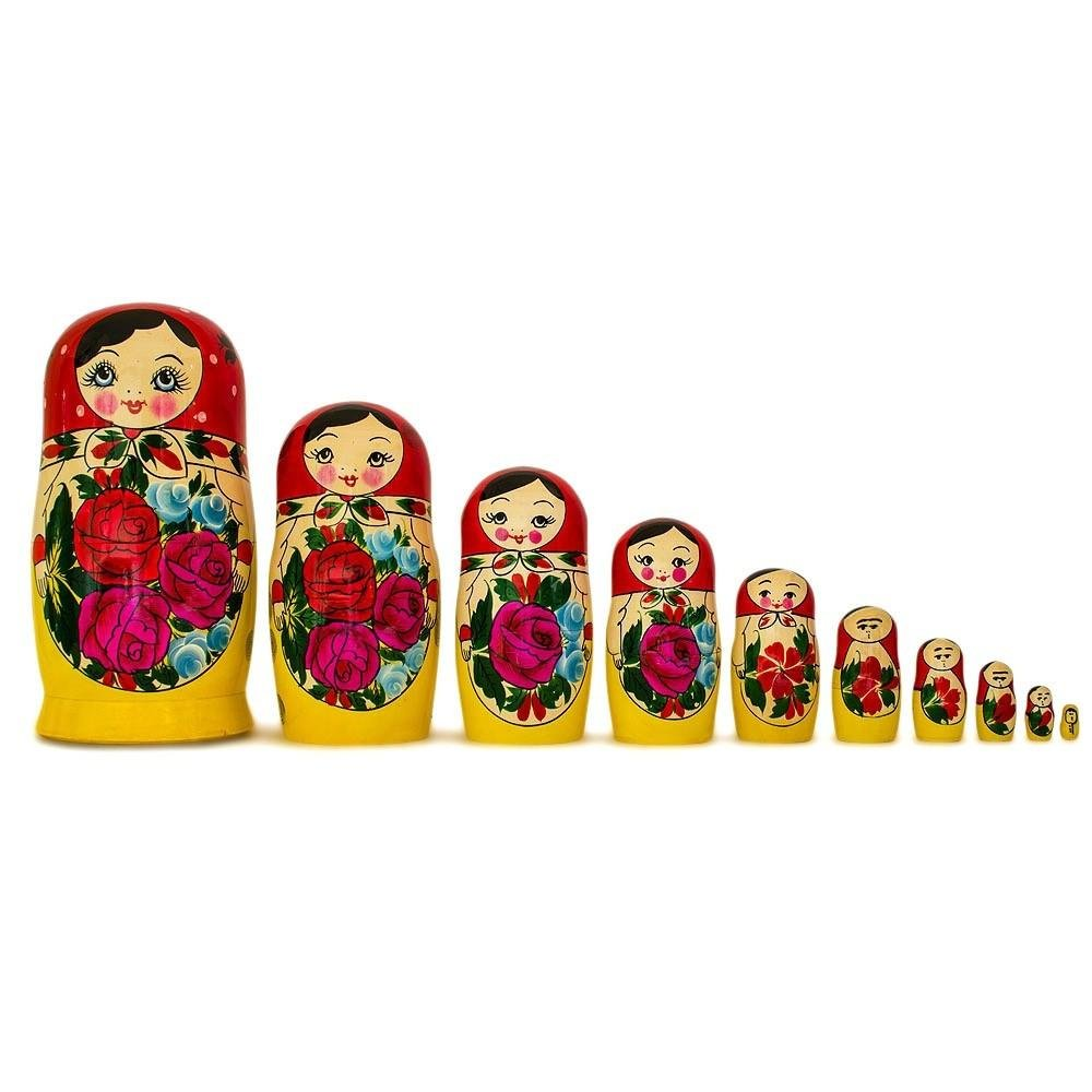 BestPysanky Set of 10 Traditional Semenov Russian Nesting Dolls Matryoshka 10 Inches