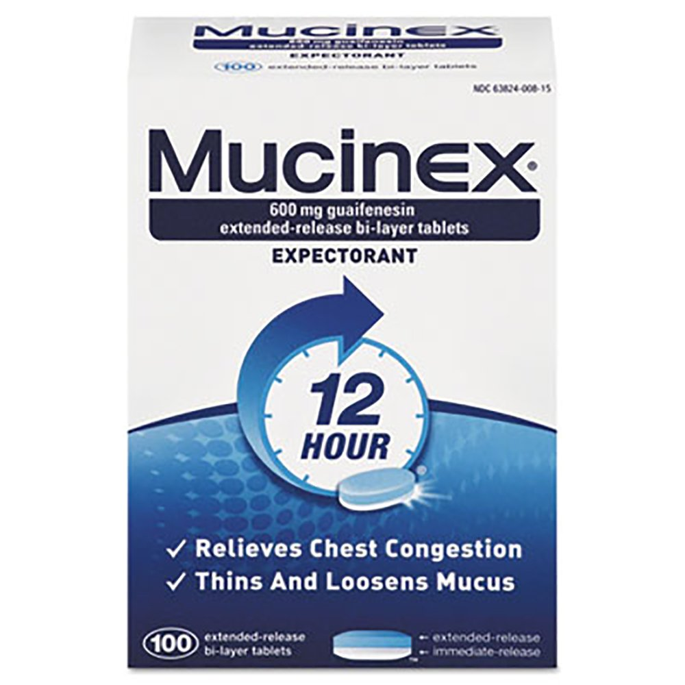 Mucinex RAC00815 Expectorant Regular Strength, 100 Tablets/box, 12 Box/carton