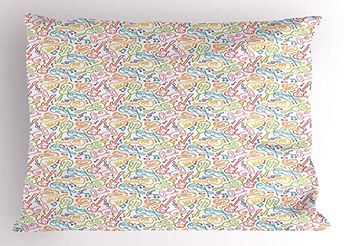 K0k2t0 Music Pillow Sham, Doodle Funky Guitar Violin Jazz Saxophone Acoustic Show Concert Symphony Concept, Decorative Standard Queen Size Printed Pillowcase, 30 X 20 inches, -