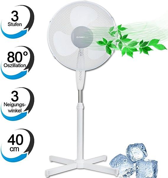 Ventilador de pie 40 cm, 3 niveles, 80 Grados oscilación, 3 ángulo ...