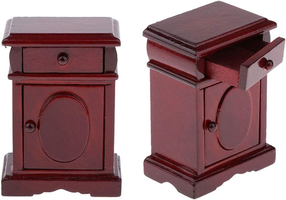 SM SunniMix 2Pcs Miniature Dollhouse Miniature Nightstand Side Table with Drawer 1:12