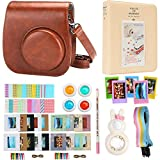 Alohallo Mini 8 Instant Camera Accessories for FujiFilm Instax Mini 8 Camera with Camera Case/ Close-Up Lens / Mini Album/ Color Frame/ Sticker Borders/ Strap/ Pens/ Filter (Brown)