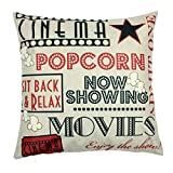 Movie Theater Cinema Admit One Ticket Personalized Home Decor Design Throw Pillow Cover Pillow Case 18 x 18 Inch Cotton Linen for Sofa (Art Quotes)
