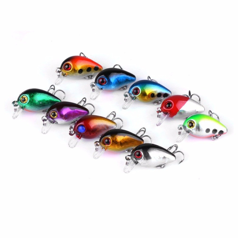 3cm 10 Colors Artificial Baits Fishing Lures Portable Crankbaits Hooks Minnow Baits Hard Baits