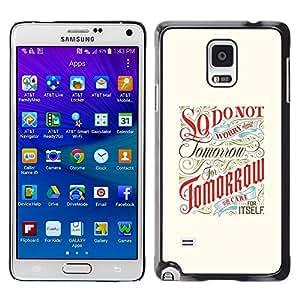 LECELL--Funda protectora / Cubierta / Piel For Samsung Galaxy Note 4 SM-N910 -- Tomorrow Inspiring Motivational Retro --