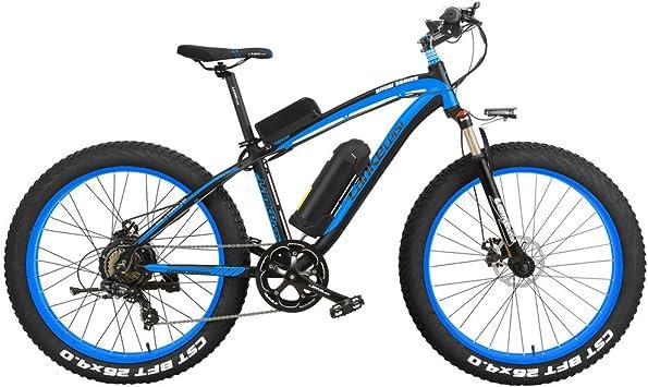 LANKELEISI XF4000 Elite 500W Potente Bicicleta eléctrica, 26 Pulgadas Fat Bike, Suspension Fork, MTB Snow Bike, Batería de Litio E Bike (Negro Azul, 500W 10Ah): Amazon.es: Deportes y aire libre