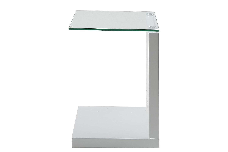 Estupenda mesa auxiliar con base de madera y tapa de cristal.