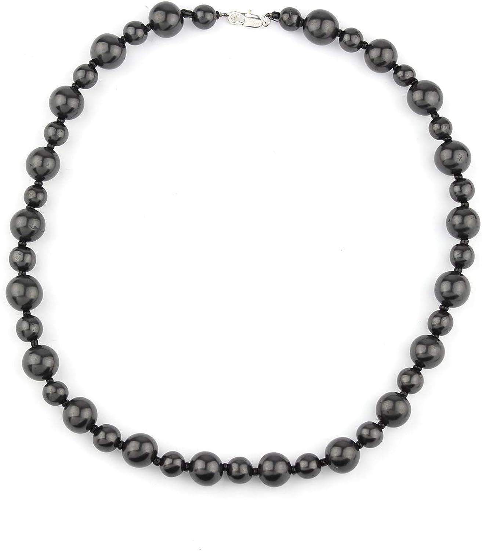 Heka Naturals Collar de Piedra Shungit Diseño Bella | Joyería para Protección Electromagnética, Elaborada con Piedra Shungite | Collar de Shungita Anti-Radiación | Collar Bella