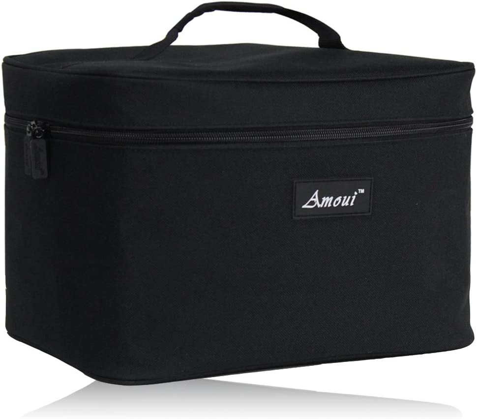 Amoui Large Insulated Lunch Bag for Men Adult 12L Black Plus Size Outdoor Beach Cooler Bag Thermal Lunch Boxes with Handle Picnic Dinner Lunch Bag Keep Food Hot Cold
